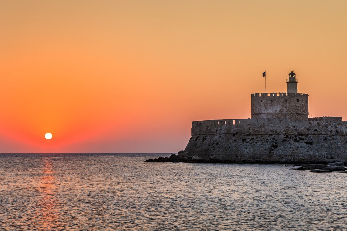 'Agios Nikolaos fortress on the Mandraki harbour of Rhodes, Greece ' - Rodi